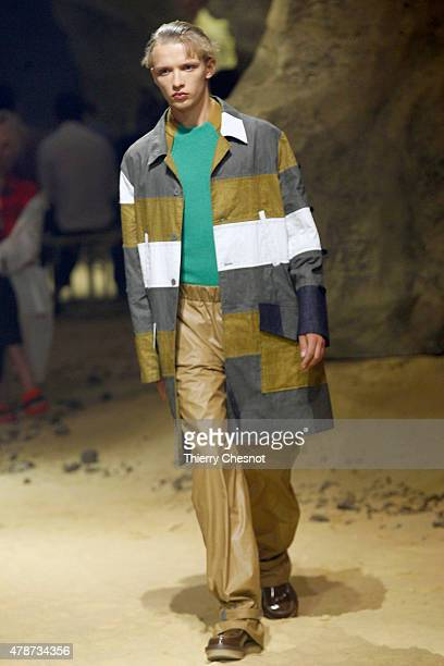 A model walks the runway during the Kenzo Menswear Spring/Summer 2016 show as part of Paris Fashion Week on June 27 2015 in Paris France