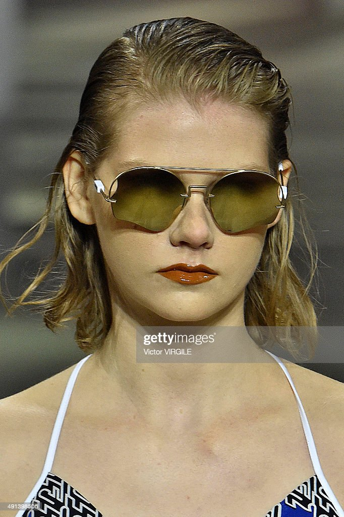 A model walks the runway during the Kenzo Ready to Wear show as part of the Paris Fashion Week Womenswear Spring/Summer 2016 on October 4 2015 in...