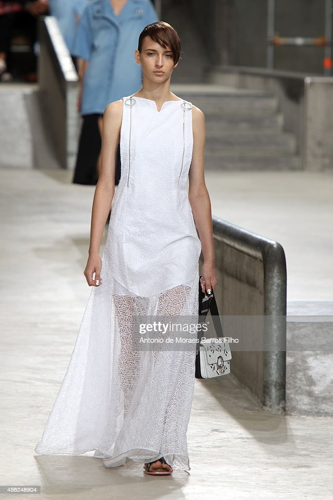 A model walks the runway during the Kenzo show as part of the Paris Fashion Week Womenswear Spring/Summer 2015 on September 28 2014 in Paris France