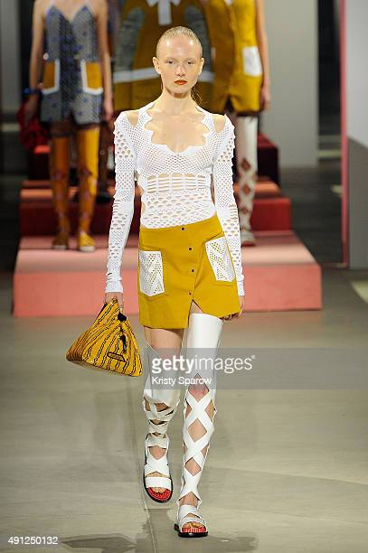 A model walks the runway during the Kenzo show as part of the Paris Fashion Week Womenswear Spring/Summer 2016 on October 4 2015 in Paris France