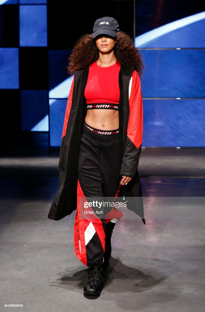 model-walks-the-runway-during-the-kith-sport-fashion-show-at-the-car-picture-id843963908