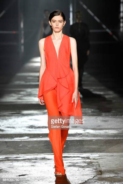 A model walks the runway during the KITX show at MercedesBenz Fashion Week Resort 18 Collections at Bay 25 Carriageworks on May 17 2017 in Sydney...