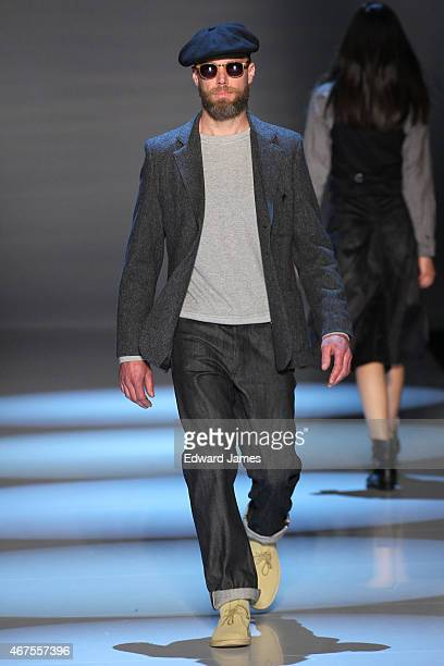 A model walks the runway during the Klaxon Howl fashion show at David Pecaut Square on March 25 2015 in Toronto Canada