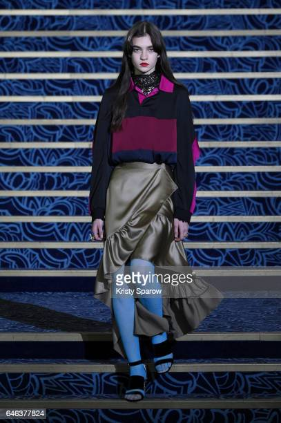 A model walks the runway during the Koche show as part of Paris Fashion Week Womenswear Fall/Winter 2017/2018 on February 28 2017 in Paris France