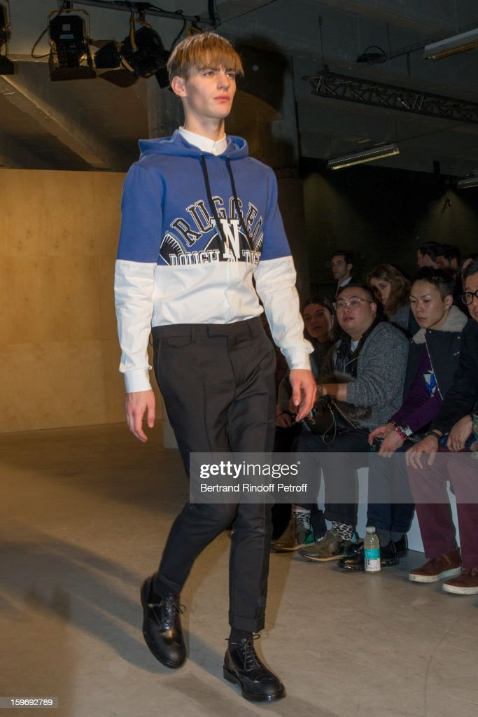 A model walks the runway during the Krisvanassche Men Autumn / Winter 2013 show as part of Paris Fashion Week on January 18, 2013 in Paris, France.