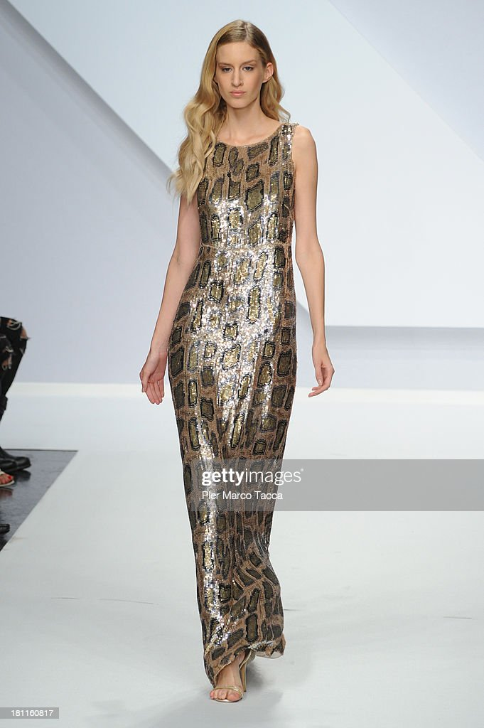 A model walks the runway during the Krizia show as a part of Milan Fashion Week Womenswear Spring/Summer 2014 on September 19, 2013 in Milan, Italy.