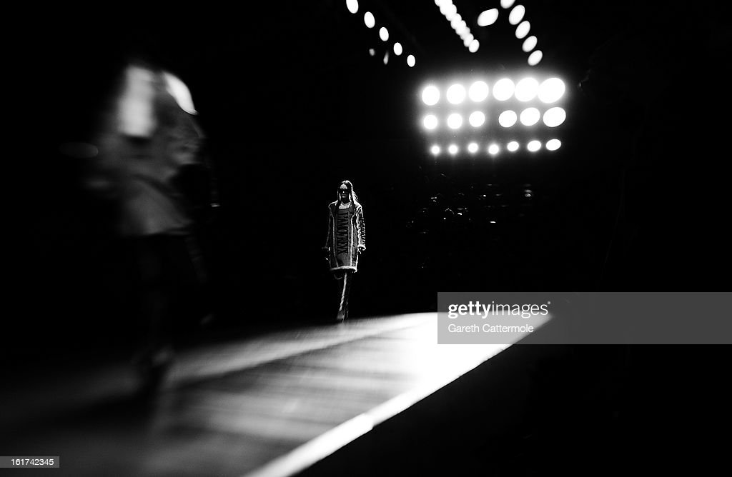 A model walks the runway during the KTZ show as part of London Fashion Week Fall/Winter 2013/14 at Somerset House on February 15, 2013 in London, England.