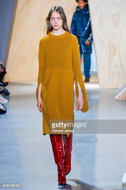 A model walks the runway during the Lacoste fashion show at Spring Studios on February 13 2016 in New York City