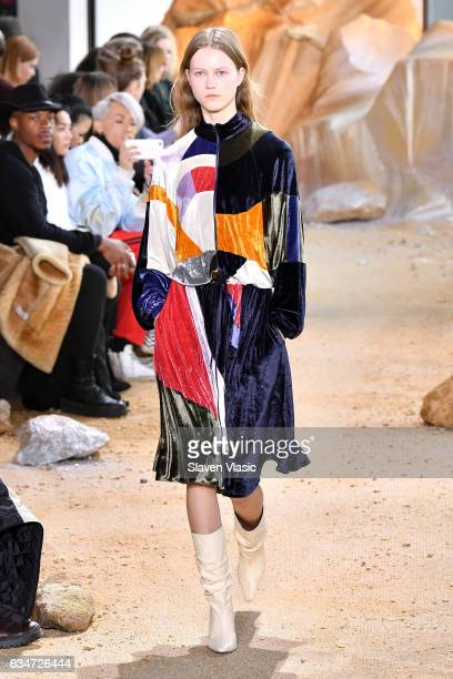 A model walks the runway during the Lacoste fashion show during February 2017 New York Fashion Week at Spring Studios on February 11 2017 in New York...