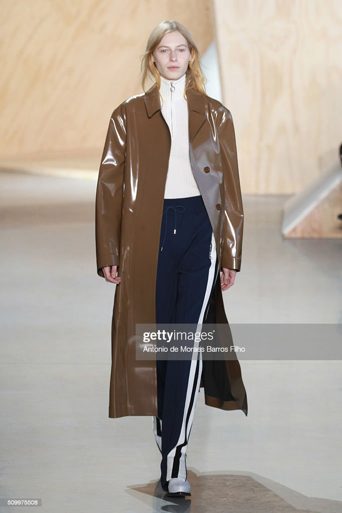 A model walks the runway during the Lacoste show as a part of Fall 2016 New York Fashion Week at Spring Studios on February 13, 2016 in New York City.