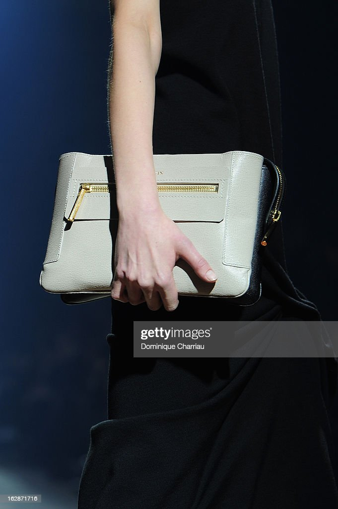 A model walks the runway (bag detail) during the Lanvin Fall/Winter 2013 Ready-to-Wear show as part of Paris Fashion Week on February 28, 2013 in Paris, France.