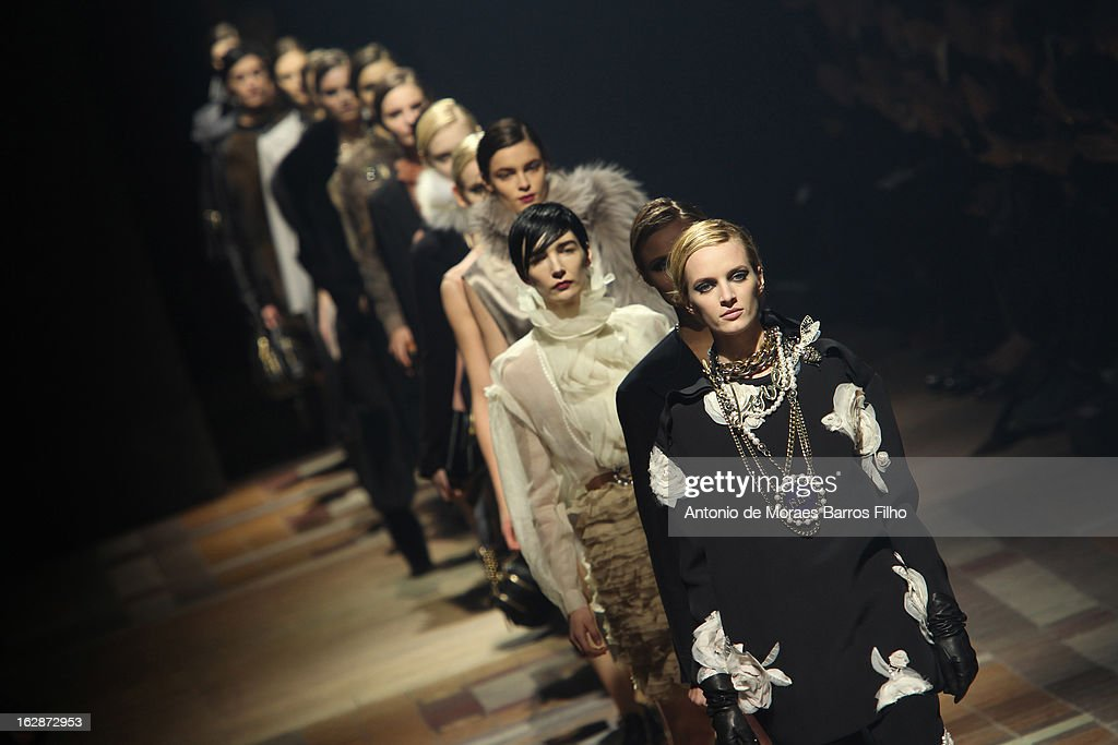 A model walks the runway during the Lanvin Fall/Winter 2013 Ready-to-Wear show as part of Paris Fashion Week on February 28, 2013 in Paris, France.