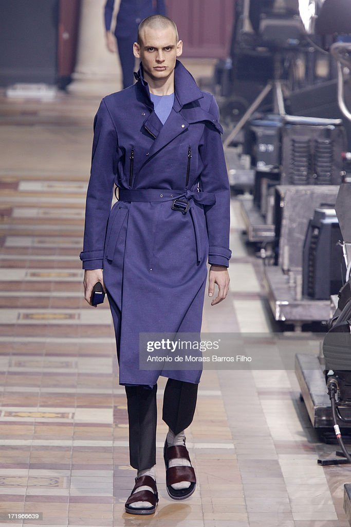 A model walks the runway during the Lanvin Menswear Spring/Summer 2014 Show As Part Of The Paris Fashion Week on June 30, 2013 in Paris, France.