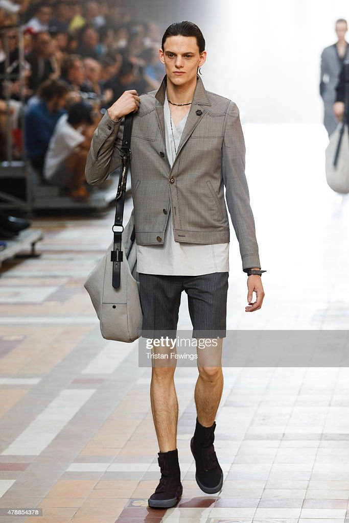 A model walks the runway during the Lanvin Menswear Spring/Summer 2016 show as part of Paris Fashion Week on June 28 2015 in Paris France