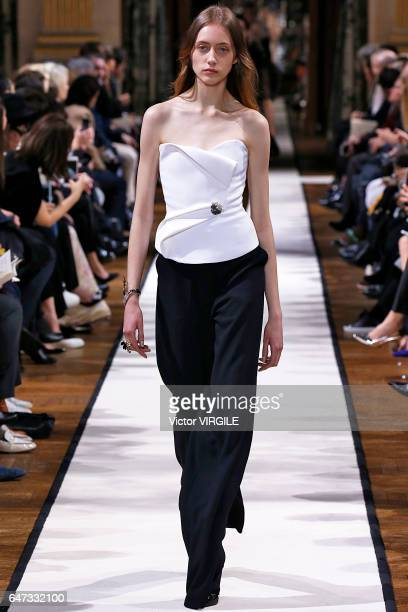 A model walks the runway during the Lanvin Ready to Wear fashion show as part of the Paris Fashion Week Womenswear Fall/Winter 2017/2018 on March 1...