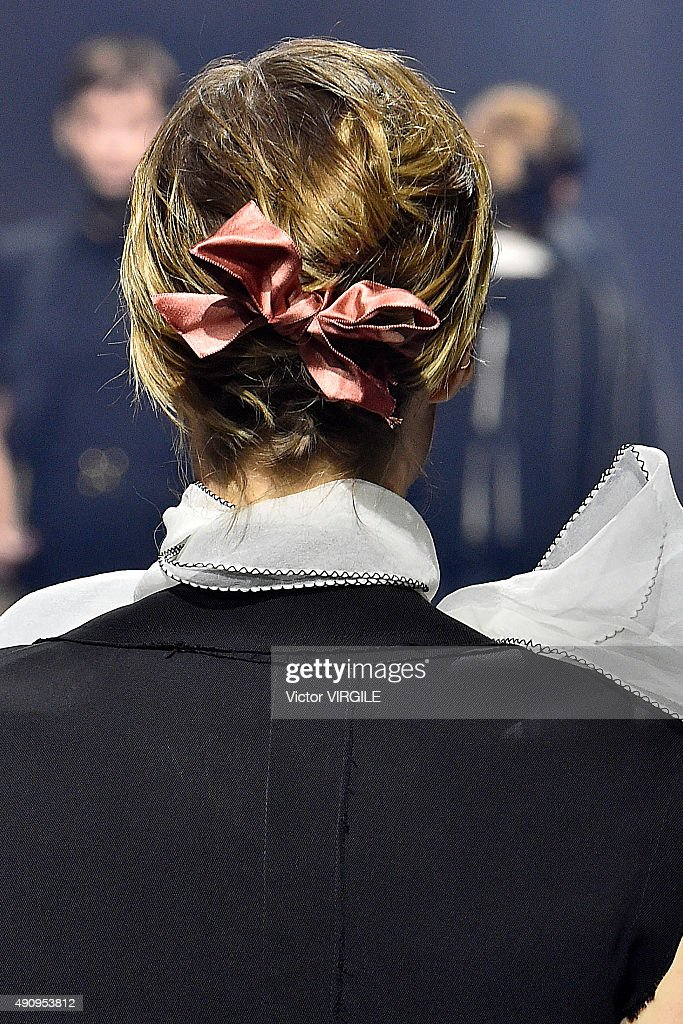 A model walks the runway during the Lanvin Ready to Wear show as part of the Paris Fashion Week Womenswear Spring/Summer 2016 on October 1 2015 in...