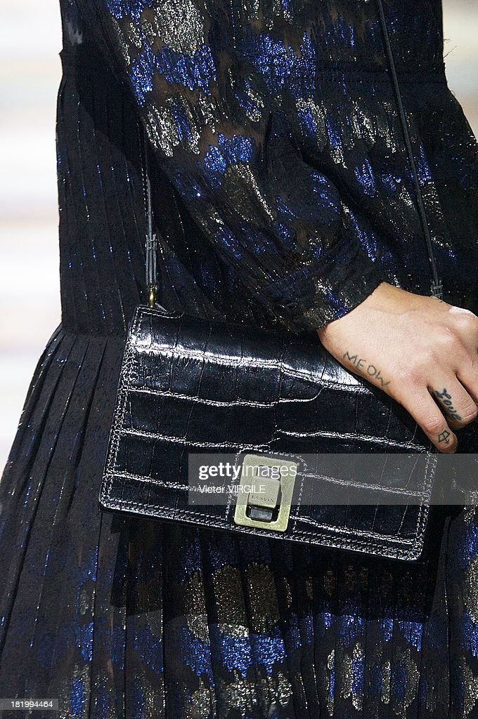 A model (bag detail) walks the runway during the Lanvin show as part of Paris Fashion Week Womenswear Spring/Summer 2014 on September 26, 2013 in Paris, France.