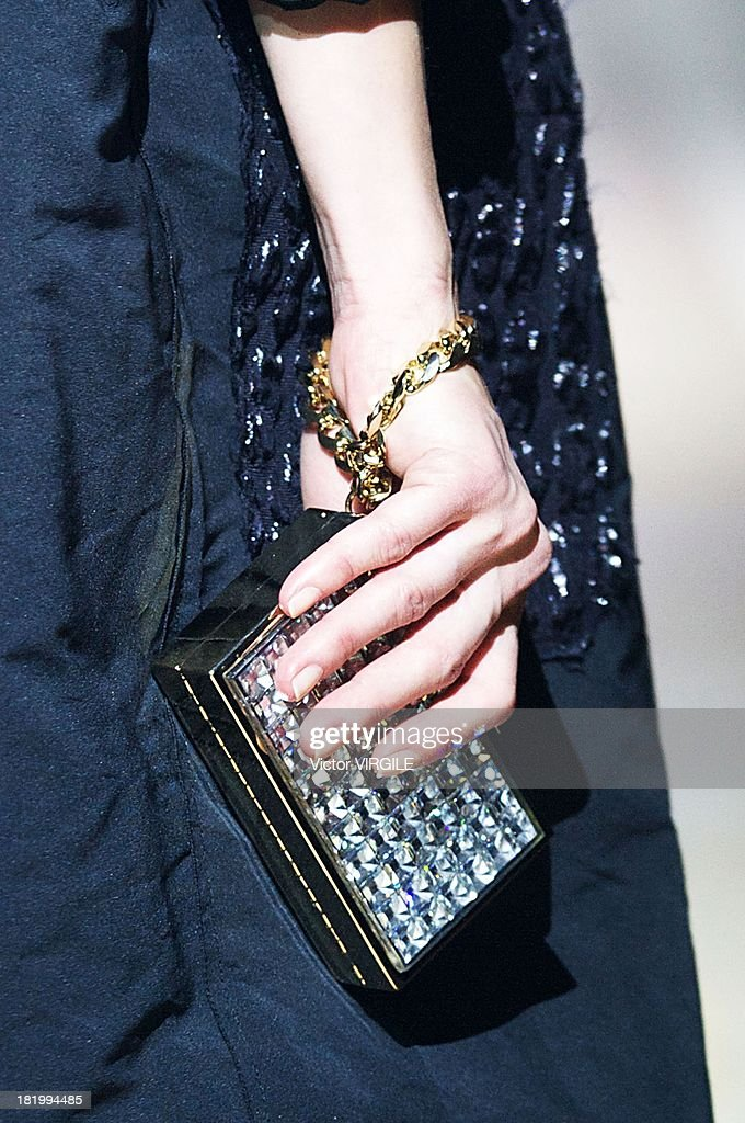A model (clutch detail) walks the runway during the Lanvin show as part of Paris Fashion Week Womenswear Spring/Summer 2014 on September 26, 2013 in Paris, France.