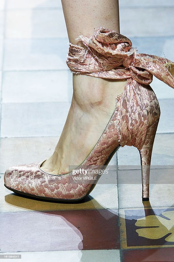 A model (shoe detail) walks the runway during the Lanvin show as part of Paris Fashion Week Womenswear Spring/Summer 2014 on September 26, 2013 in Paris, France.
