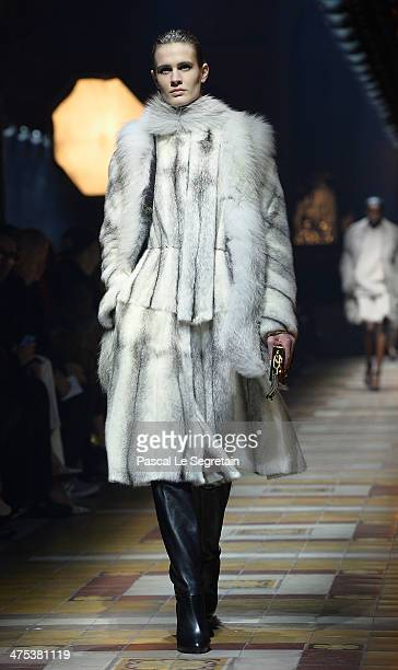 A model walks the runway during the Lanvin show as part of the Paris Fashion Week Womenswear Fall/Winter 20142015 on February 27 2014 in Paris France