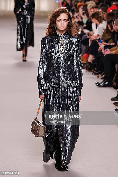 A model walks the runway during the Lanvin show as part of the Paris Fashion Week Womenswear Fall/Winter 2016/2017 on March 3 2016 in Paris France