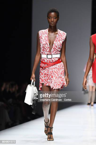 A model walks the runway during the Lanvin Spring Summer 2018 show as part of Paris Fashion Week at on September 27 2017 in Paris France