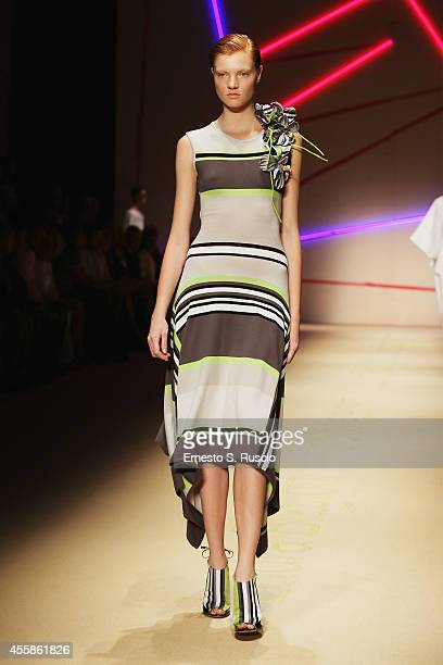 A model walks the runway during the Laura Biagiotti Show as part of Milan Fashion Week Womenswear Spring/Summer 2015 on September 21 2014 in Milan...