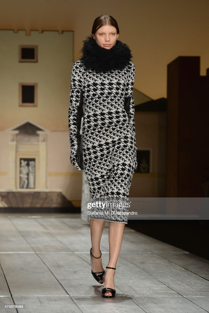 A model walks the runway during the Laura Biagiotti show as part of Milan Fashion Week Womenswear Autumn/Winter 2014 on February 23, 2014 in Milan, Italy.