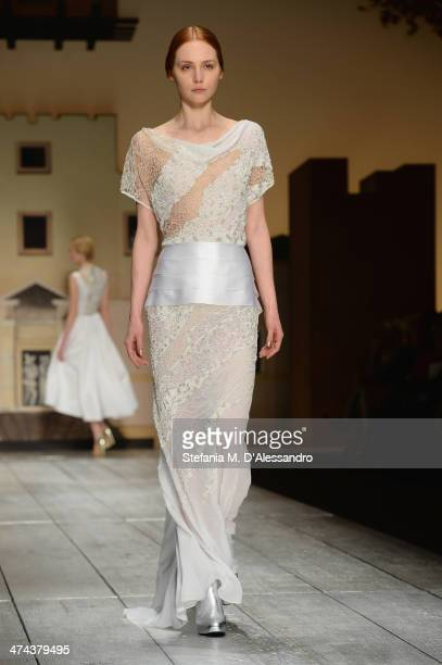 A model walks the runway during the Laura Biagiotti show as part of Milan Fashion Week Womenswear Autumn/Winter 2014 on February 23 2014 in Milan...