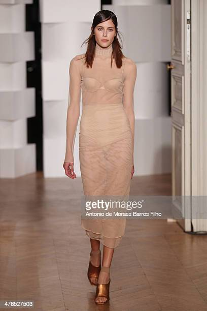 A model walks the runway during the 'Lea Peckre Pour La Maison Lejaby' show as part of the Paris Fashion Week Womenswear Fall/Winter 20142015 on...