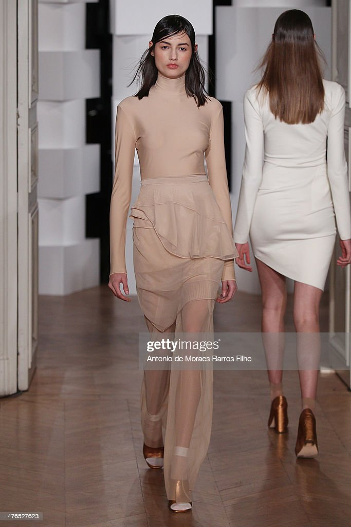 A model walks the runway during the 'Lea Peckre Pour La Maison Lejaby' show as part of the Paris Fashion Week Womenswear Fall/Winter 2014-2015 on March 3, 2014 in Paris, France.