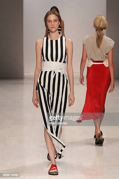 A model walks the runway during the Lee Mathews show at MercedesBenz Fashion Week Australia 2015 at Carriageworks on April 14 2015 in Sydney Australia