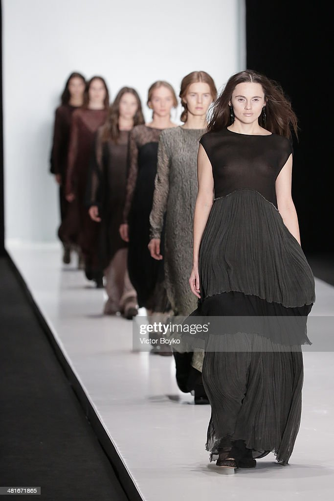 A model walks the runway during the Lena Tsokalenko show on day 4 of Mercedes-Benz Fashion Week Moscow AW14 on March 30, 2014 in Moscow, Russia.