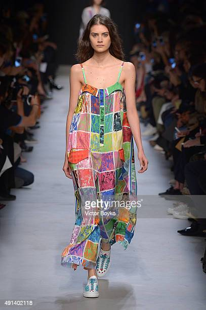 A model walks the runway during the Leonard Paris show as part of the Paris Fashion Week Womenswear Spring/Summer 2016 on October 5 2015 in Paris...