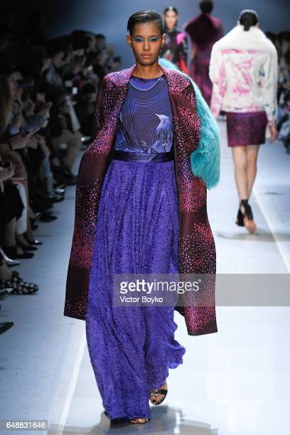 A model walks the runway during the Leonard Paris show as part of the Paris Fashion Week Womenswear Fall/Winter 2017/2018 on March 6 2017 in Paris...