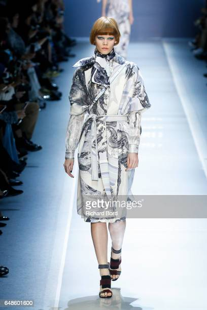 A model walks the runway during the Leonard Paris show at Grand Palais as part of the Paris Fashion Week Womenswear Fall/Winter 2017/2018 on March 6...