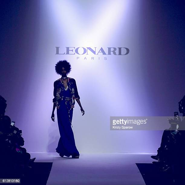 A model walks the runway during the Leonard show as part of Paris Fashion Week Womenswear Spring/Summer 2017 on October 3 2016 in Paris France