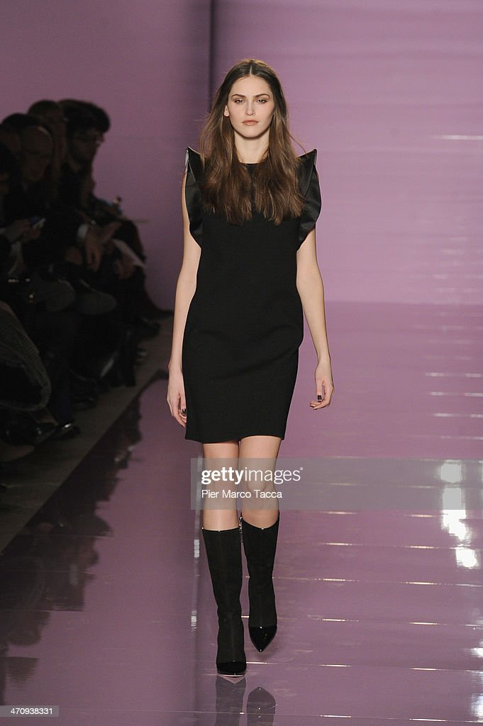 A model walks the runway during the Les Copains Show as part of Milan Fashion Week Womenswear Autumn/Winter 2014 on February 21, 2014 in Milan, Italy.