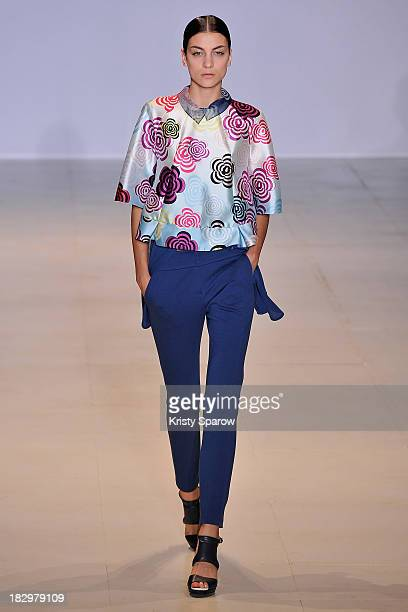 A model walks the runway during the Lie Sang Bong show as part of Paris Fashion Week Womenswear Spring/Summer 2014 on October 2 2013 in Paris France