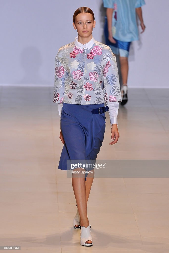 A model walks the runway during the Lie Sang Bong show as part of Paris Fashion Week Womenswear Spring/Summer 2014 on October 2, 2013 in Paris, France.