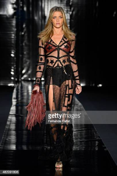 A model walks the runway during the Lilly Sarti show at Sao Paulo Fashion Week Summer 2014/2015 at Parque Candido Portinari on April 2 2014 in Sao...