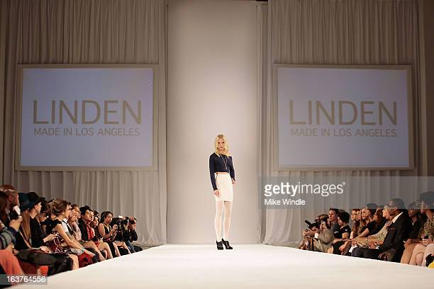 A model walks the runway during the Linden Fall 2013 collection show as part of the 2013 Los Angeles Fashion Week at Vibiana on March 14 2013 in Los...