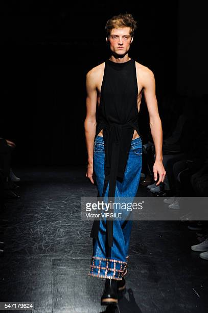 A model walks the runway during the Linder Presentation during New York Fashion Week Men's Spring/ Summer 2017 on July 11 2016 in New York City