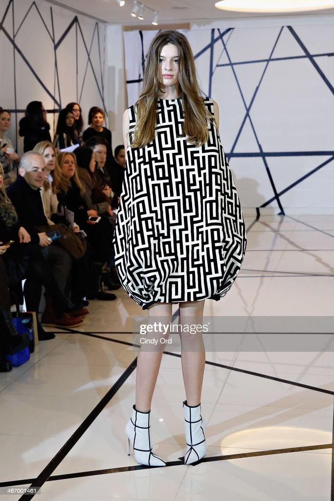 A model walks the runway during the Lisa Perry Fall 2014 presentation on February 5 2014 in New York City