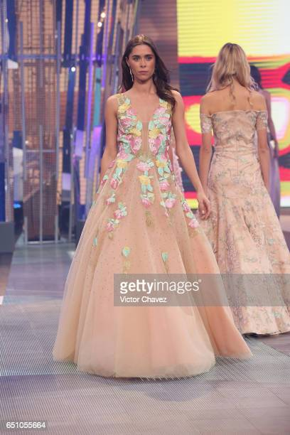 A model walks the runway during the Liverpool Fashion Fest Spring/Summer 2017 at Televisa San Angel on March 9 2017 in Mexico City Mexico