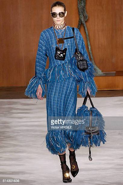 A model walks the runway during the Loewe fashion show as part of the Paris Fashion Week Womenswear Fall/Winter 2016/2017 on March 4 2016 in Paris...
