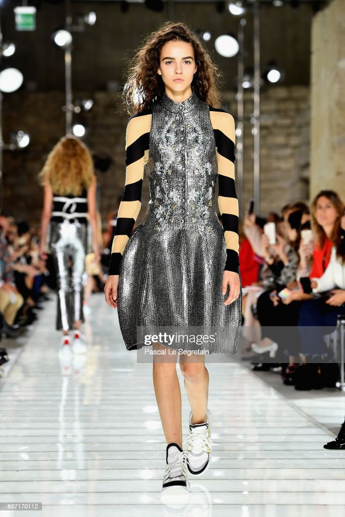 A model walks the runway during the Louis Vuitton Paris show as part of the Paris Fashion Week Womenswear Spring/Summer 2018 on October 3, 2017 in Paris, France.