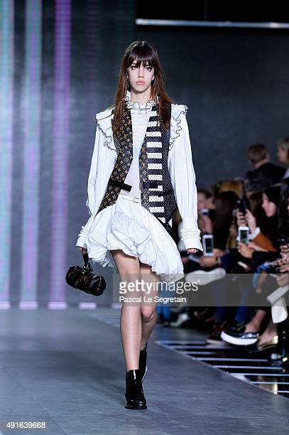 A model walks the runway during the Louis Vuitton show as part of the Paris Fashion Week Womenswear Spring/Summer 2016 on October 7 2015 in Paris...