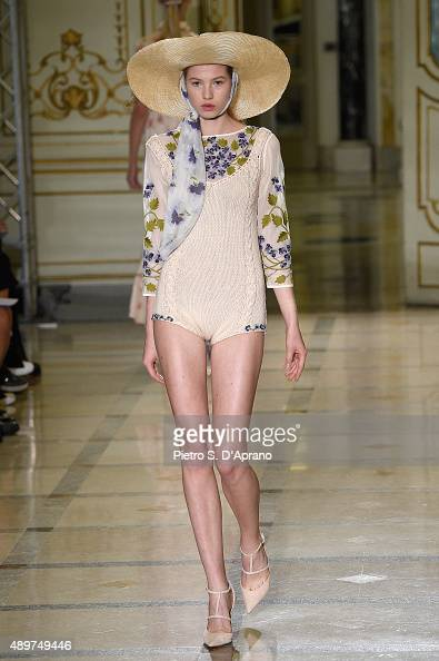 A model walks the runway during the Luisa Beccaria fashion show as part of Milan Fashion Week Spring/Summer 2016 on September 24 2015 in Milan Italy