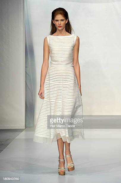 A model walks the runway during the Luisa Beccaria show as a part of Milan Fashion Week Womenswear Spring/Summer 2014 on September 18 2013 in Milan...